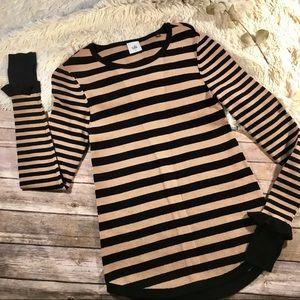 Cabi trumpet sleeve stripe knit sweater